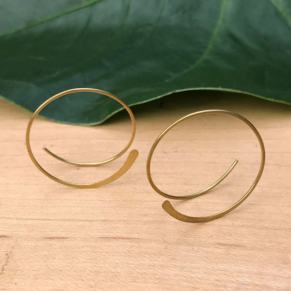 Fair trade brass earrings handmade by women in Thailand