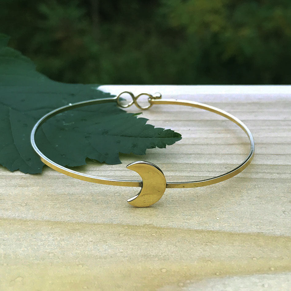 Brass fair trade bracelet with moon handmade by women in India