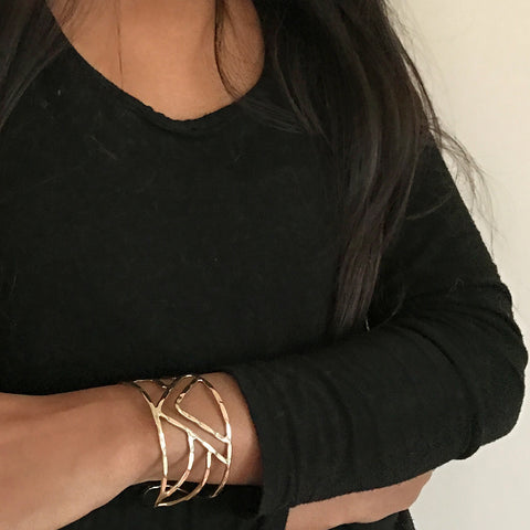 Fair trade brass cuff handmade by women in India