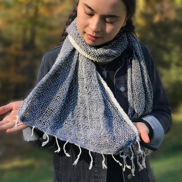Fair trade organic cotton scarf handmade by women in Thailand