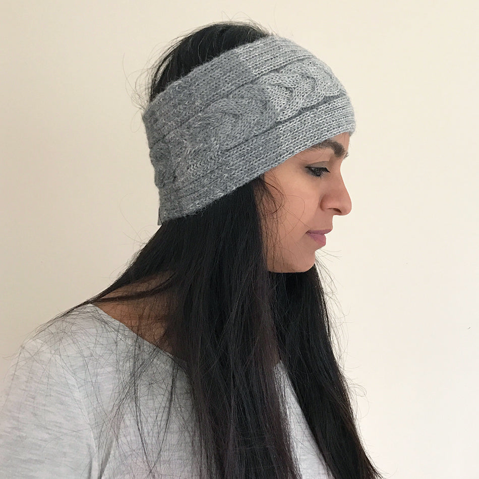 Luxurious Alpaca Headband - Gray Cable, Peru