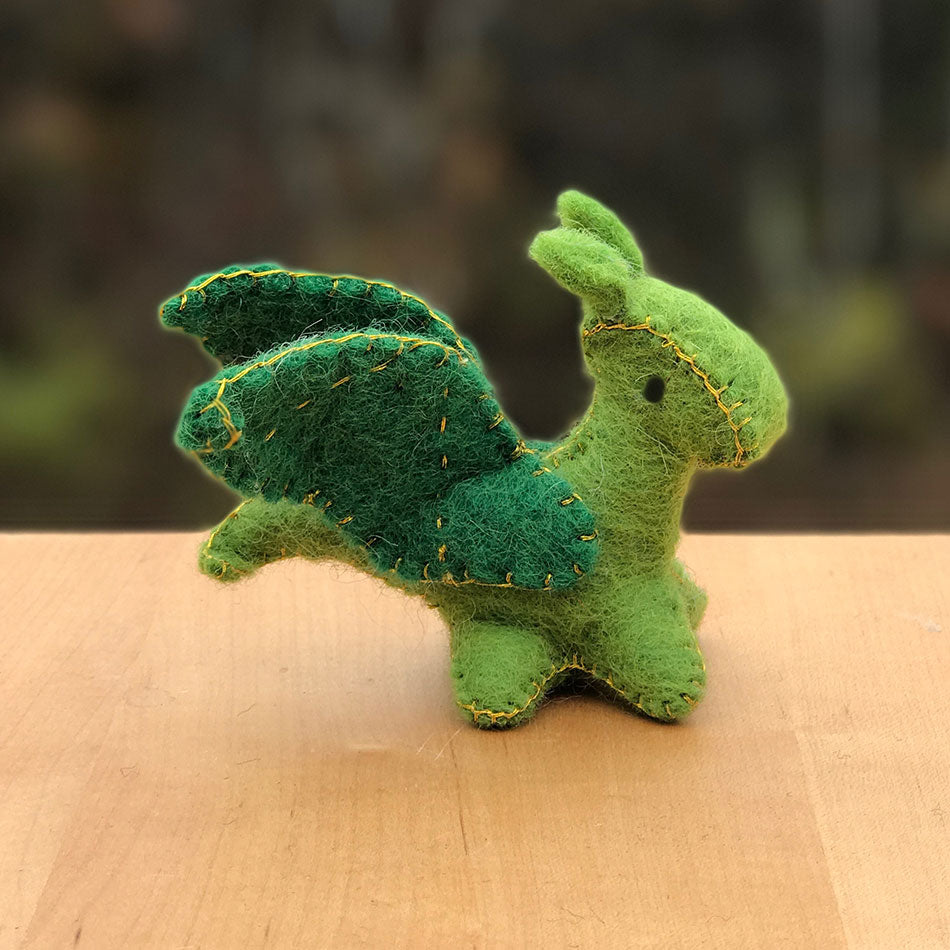 Mini Felted Dragon Ornament/Toy - Green, Nepal