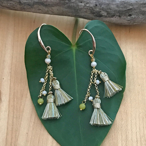 Double Tassel Earrings -Sea, Thailand