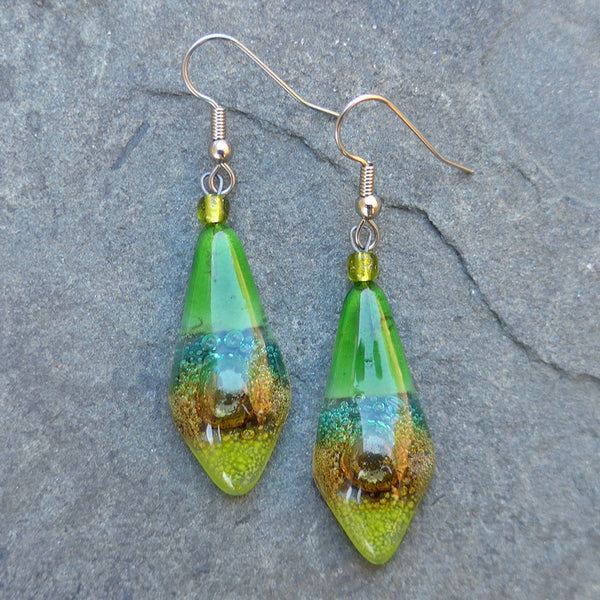Straight to the Heart Glass Earrings- Green, Guatemala