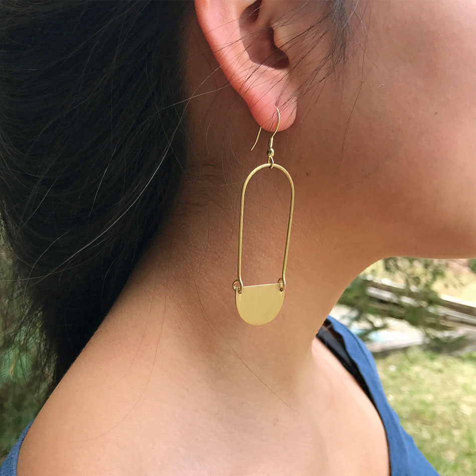 Half Moon Rising Earrings - Gold, India