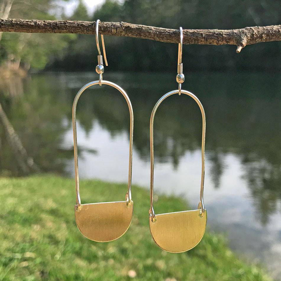 Fair trade brass earrings handmade by women in India