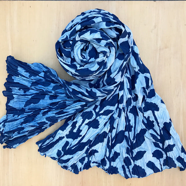 Indigo fair trade scarf handmade by artisans in India
