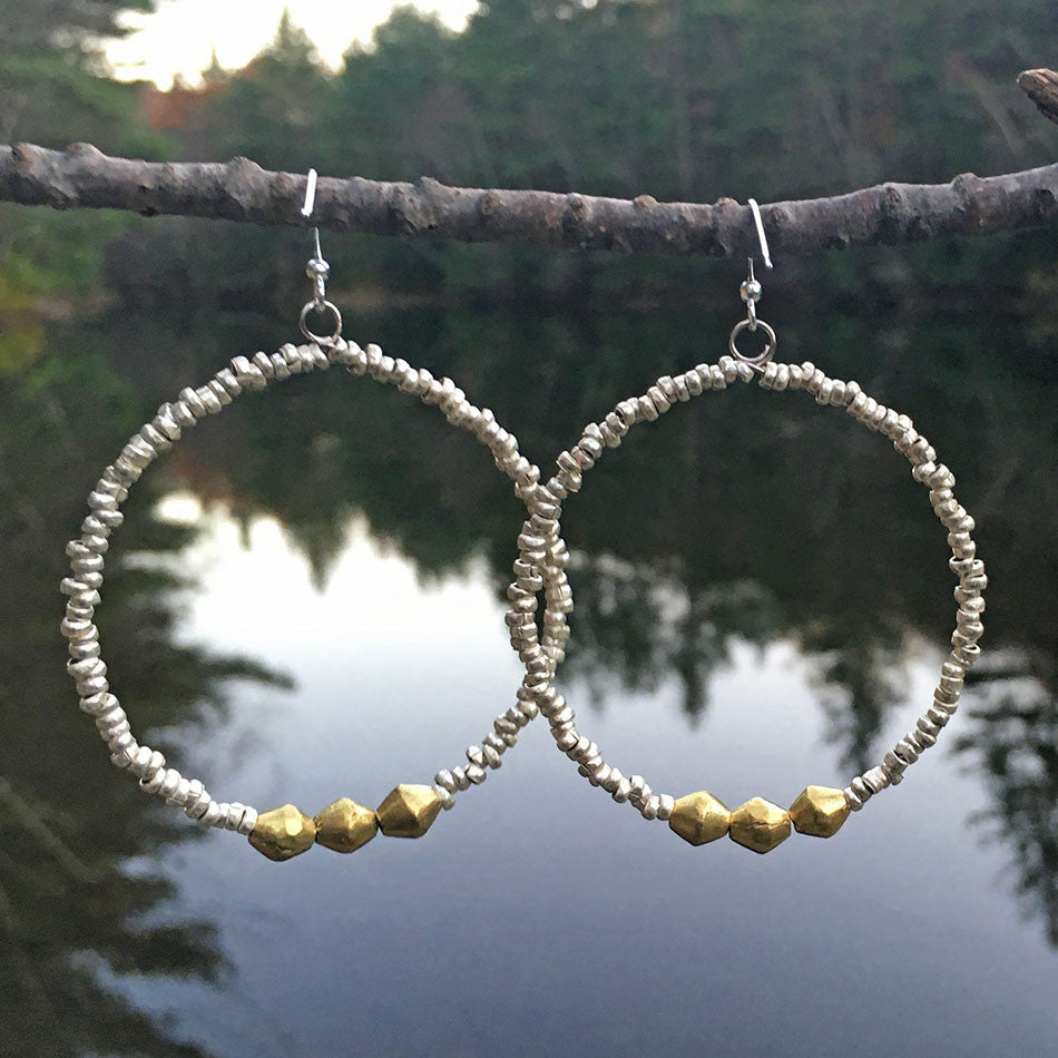 Natania Hoop Earrings - Silver, Ethiopia