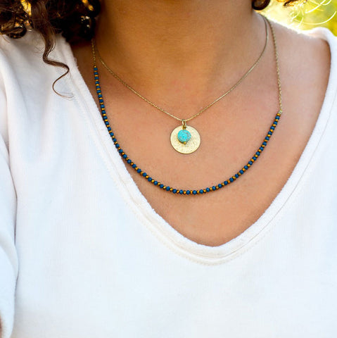 Fair trade layered necklace handmade by women in India