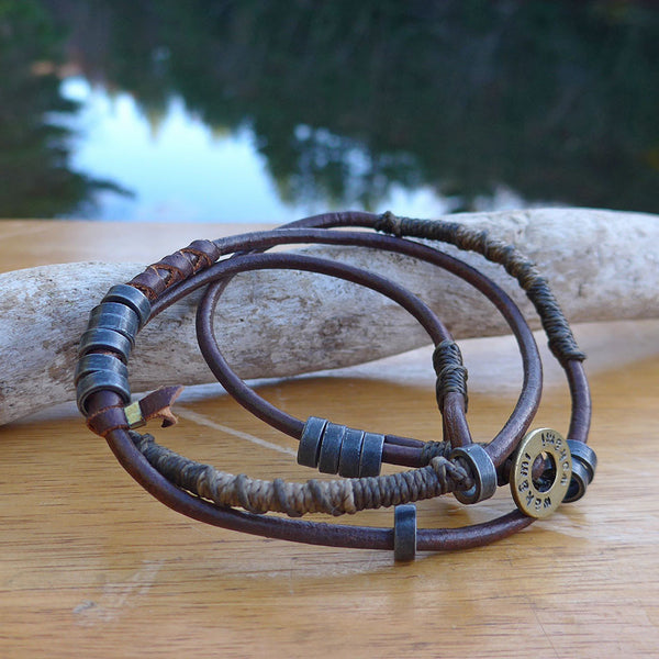 Men's Leather Wrap Bracelet, Guatemala