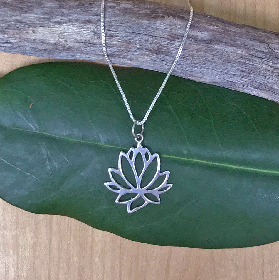 Lotus Flower Necklace Sterling Silver Thailand Womens Peace