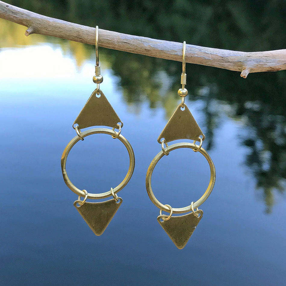 Fair trade brass earrings handmade by  women in India.