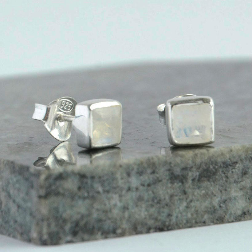 Moonstone Protection Studs, Sterling Silver, India