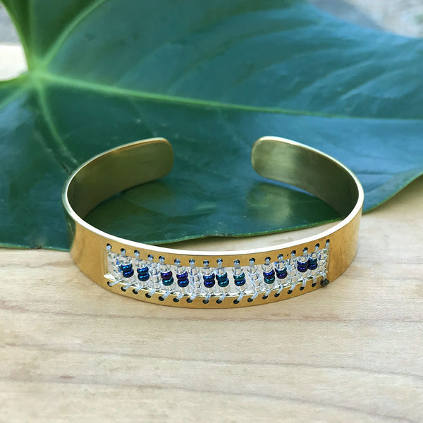 Fair trade brass beaded bracelet handmade by women in Kenya