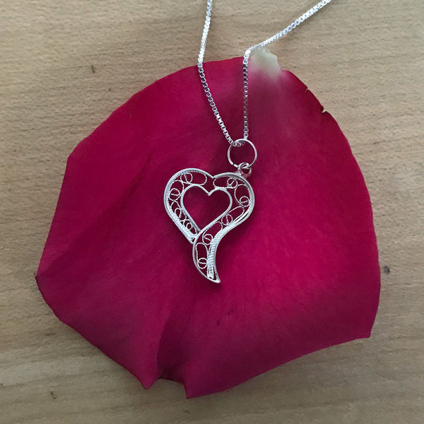 Open Heart Necklace - Sterling Silver, Peru