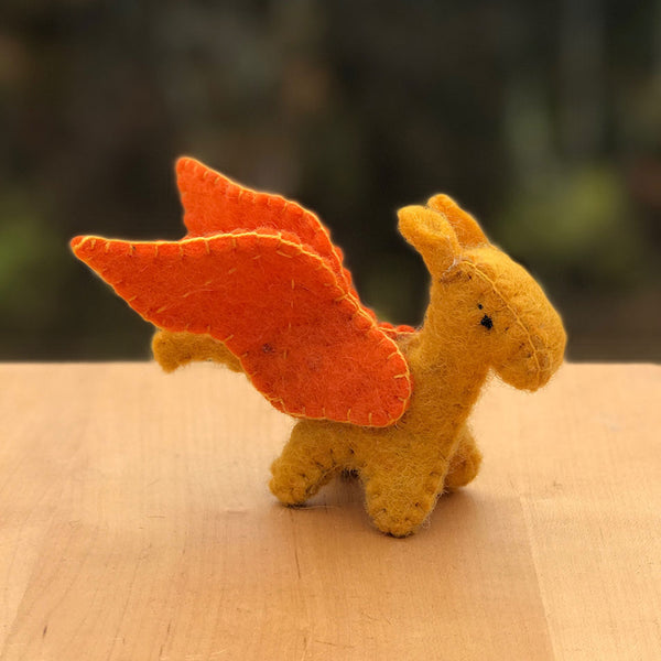 Mini Felted Dragon -Orange, Nepal
