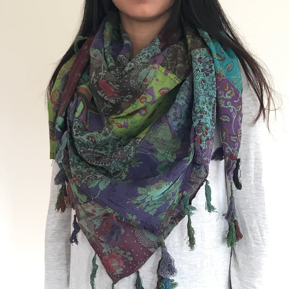 Patchwork Square Scarf - Floral, Nepal