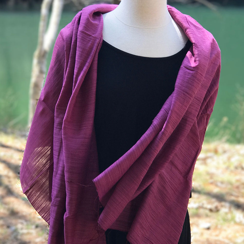 Mai Silk and Cotton Scarf/Wrap - Magenta, Vietnam