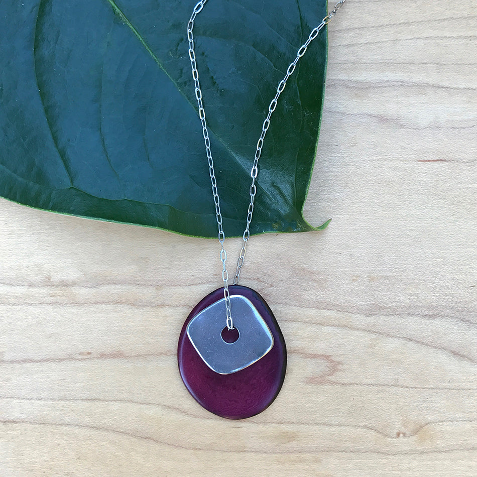 Fair trade tagua necklace handmade by women in Colombia.