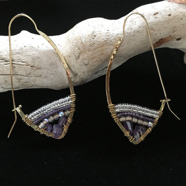 Hear My Voice Earrings - Amethyst, Kenya