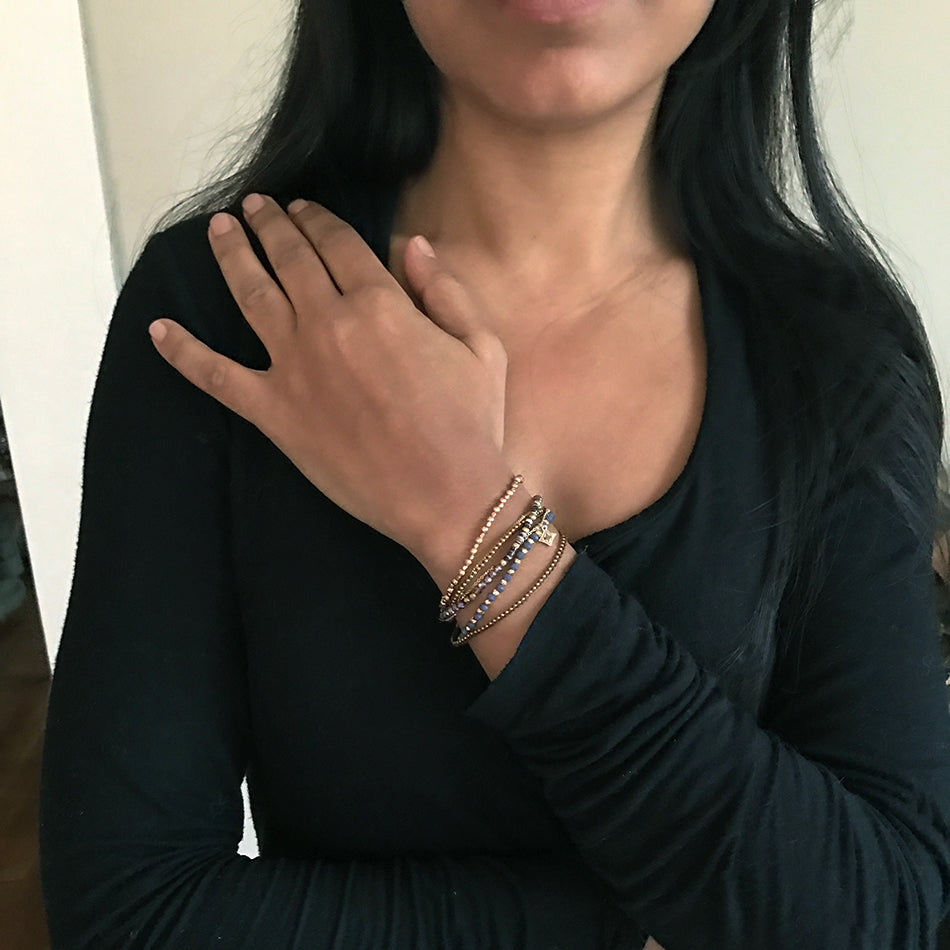 Iridescent Wrap Bracelet/Necklace - Purple, Thailand