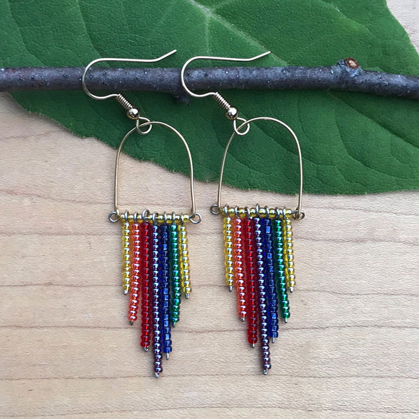 Rainbow beaded fair trade earrings handmade by women in Guatemala