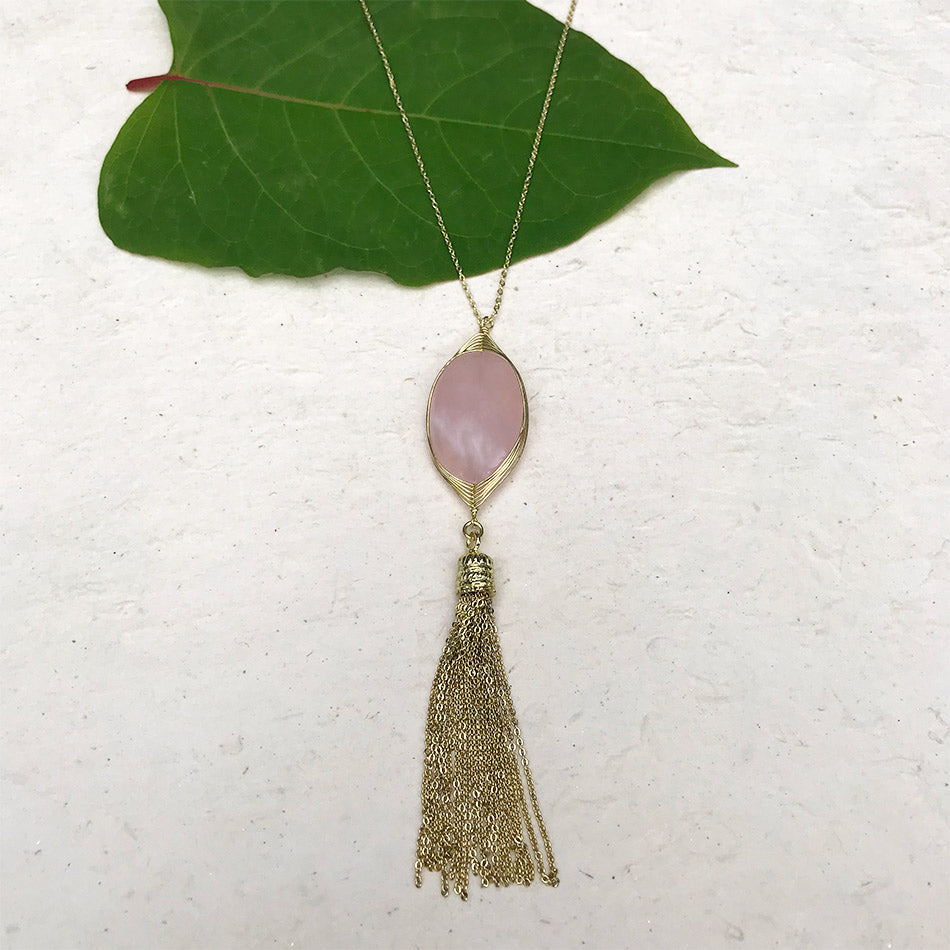 Rose quartz fair trade necklace handmade in India