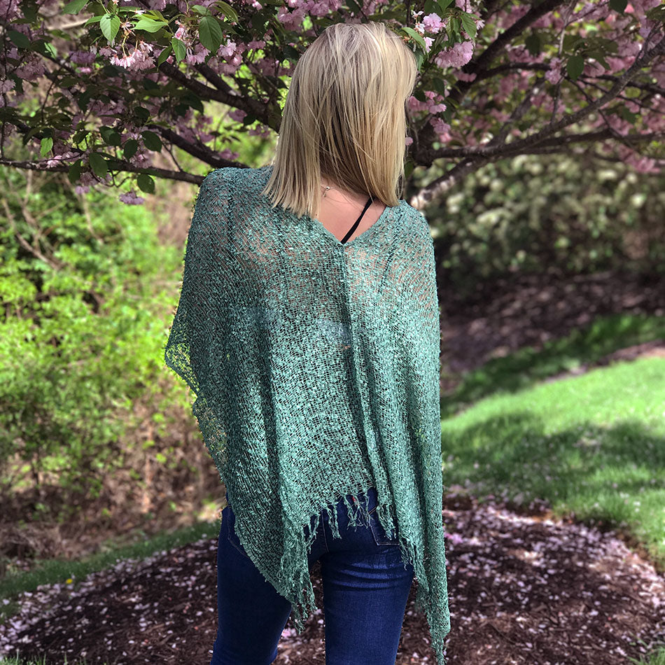 Fair trade handmade poncho shrug Nepal