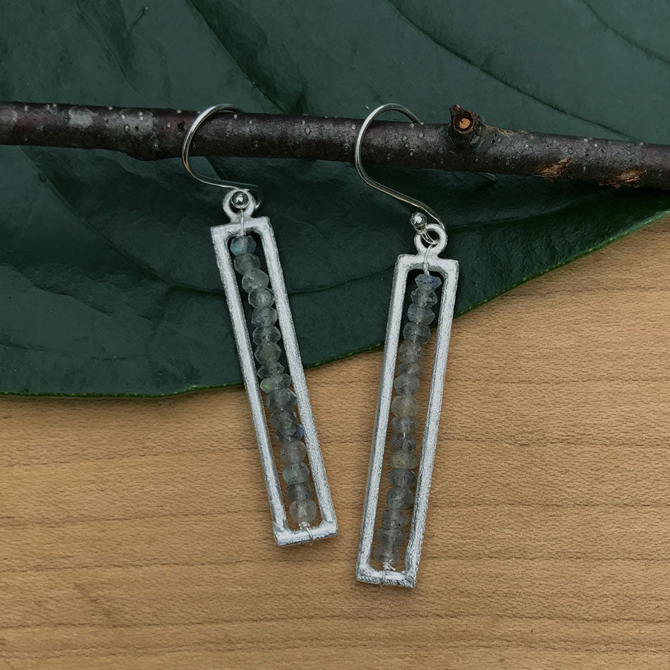Fair trade, sterling silver labradorite earrings handmade in Nepal