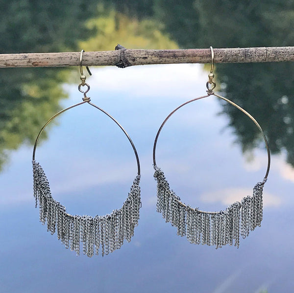 On the Fringe Hoops - Silver, India