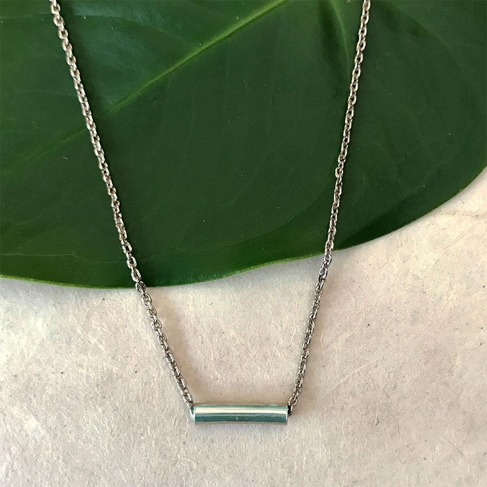 Fair trade silver minimalist necklace handmade by survivors of human trafficking