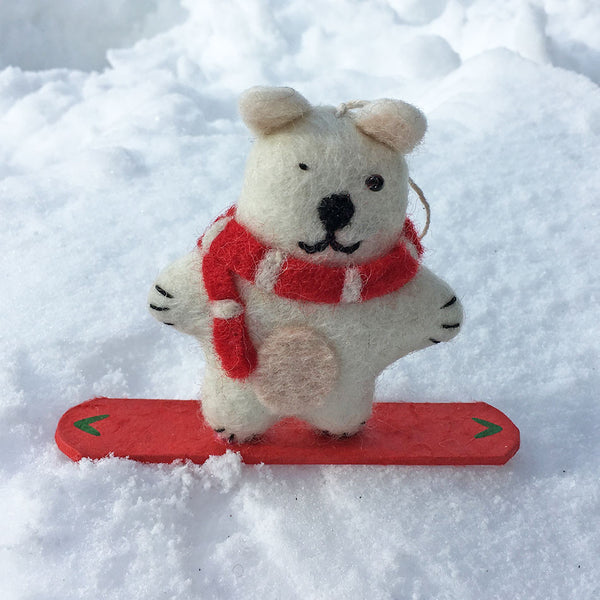 Snowboarding Polar Bear Ornament, Nepal