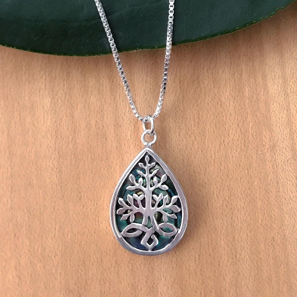 Sterling silver and abalone tree of life fair tradenecklace handmade in Bali.