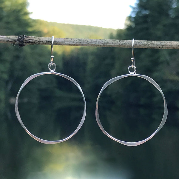 Fair trade sterling silver hoops handmade by women in Bali