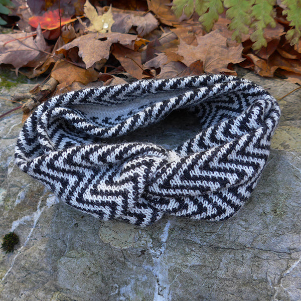 Sumptuous Double Layer Alpaca Headband - Black Stripe, Bolivia