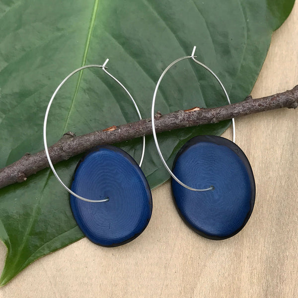 Tagua Eco Hoops - Blue, Colombia