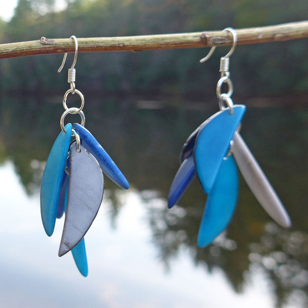 Tagua Fiesta Earrings - Blue, Colombia