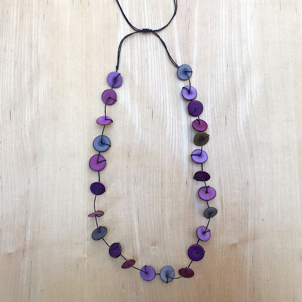 Tagua Single/Double Strand Necklace - Purple, Colombia