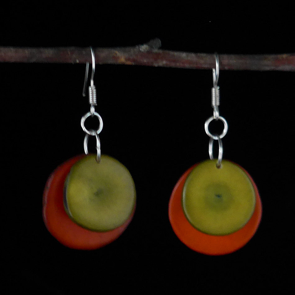 Tagua Splash Earrings - Green, Colombia