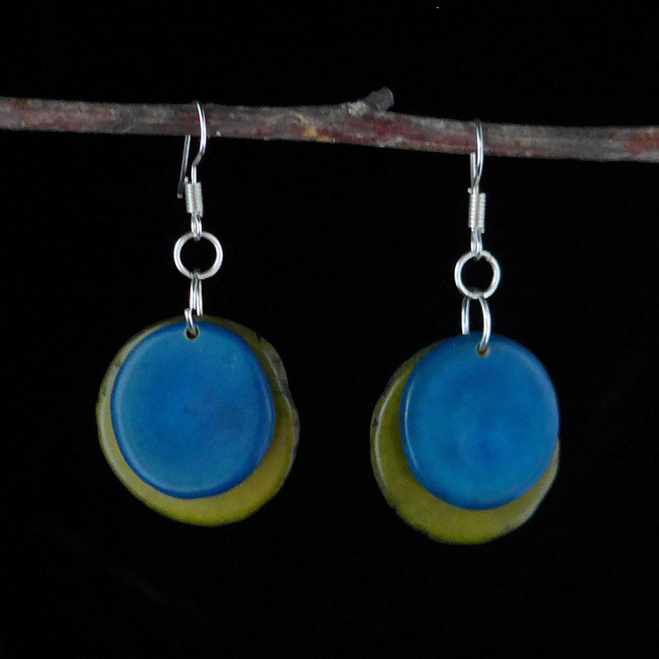 Tagua Splash Earrings - Blue, Colombia