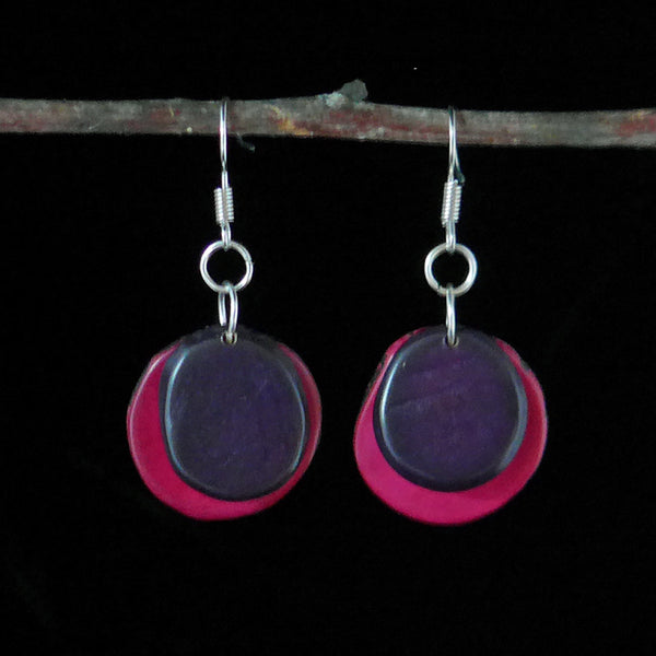 Tagua Splash Earrings - Purple, Colombia
