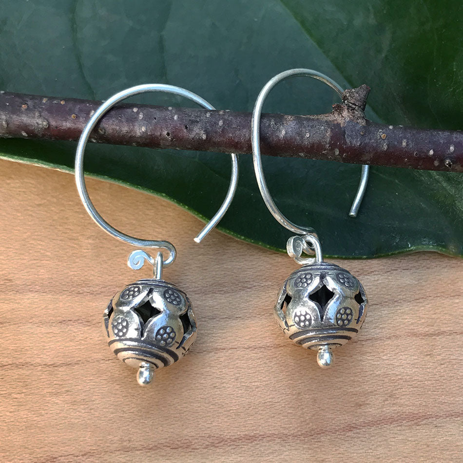 Sterling silver fair trade earrings handmade by artisans in the Thailand Hill Tribes