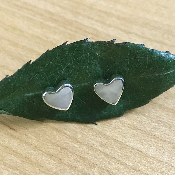 Mother of Pearl Heart Earrings - Sterling Silver, Peru