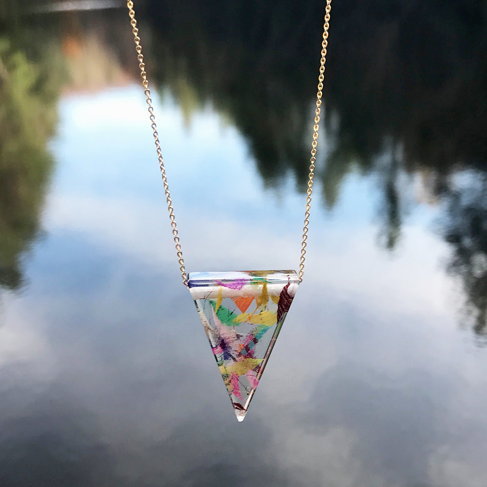 Eco-Resin Necklace - Sari Fabric Triangle, Colombia