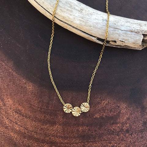 Triple Flower Necklace - Gold, India