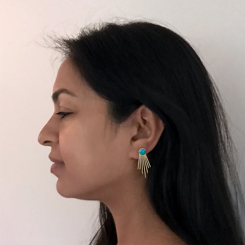 Opportunity Ear Jacket Earrings - Turquoise, China
