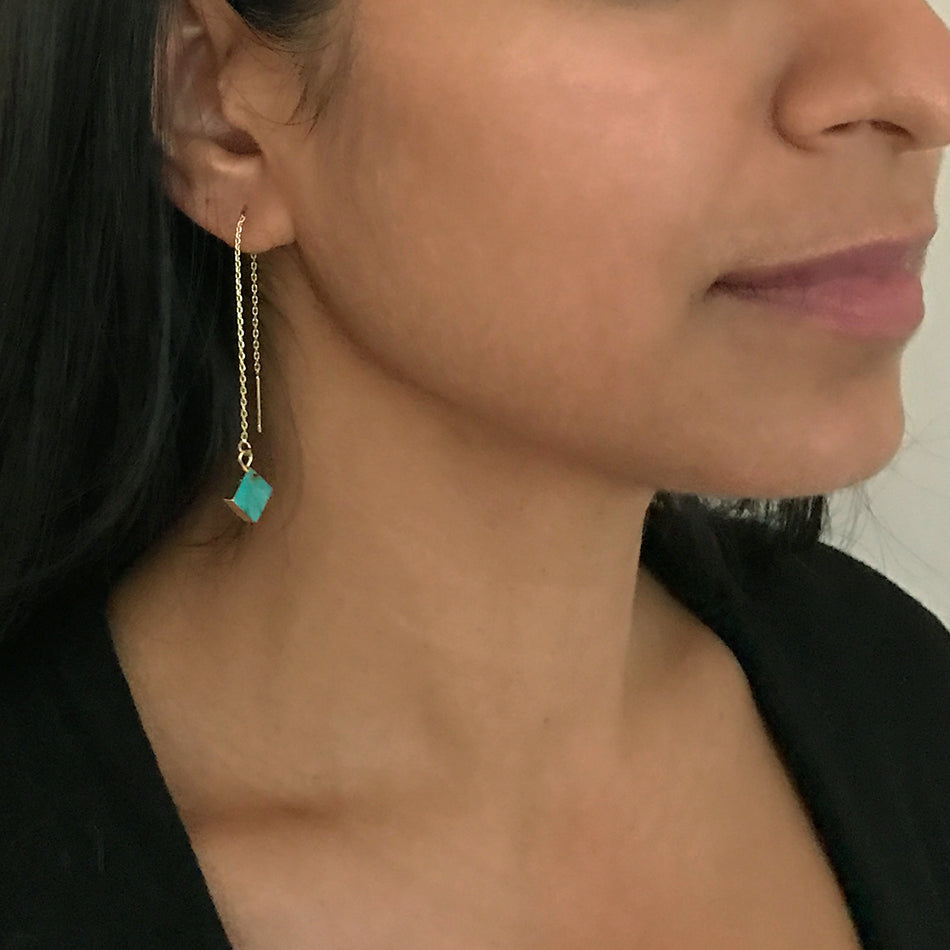 Turquoise Thread Through Earrings, China