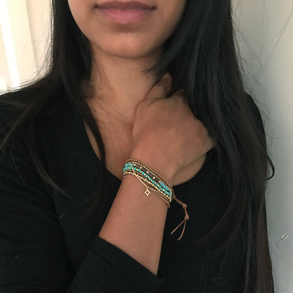 Iridescent Wrap Bracelet/Necklace - Blue, Thailand