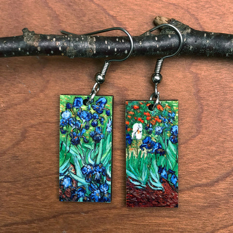 VAn Gogh Iris earrings handmade in Guatemala