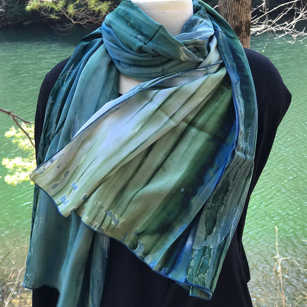 Watercolor Scarf/Wrap - Sea Green, Bali